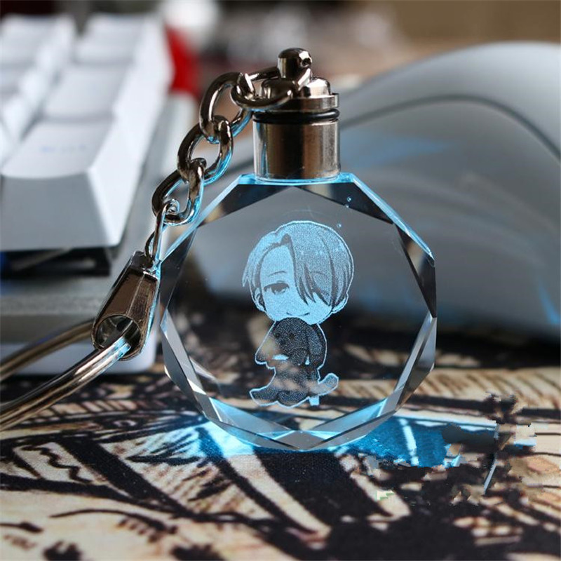 Anime YURI!!! ON ICE Cosplay LED Keychain Victor Nikiforov Crystal Light Charm Keychain Pendant Toy Gift Collection Plisetsky
