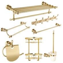 Античный Хрустальный Золотой набор аксессуаров для ванной комнаты, твердый латунный набор аксессуаров для ванной комнаты