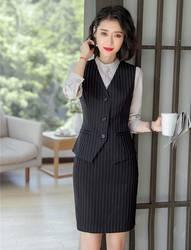 Короткое пальто в формальном стиле и жилет для женщин Деловые костюмы с 2 шт. юбка и топ наборы рабочая одежда Дамская офисная форма стили