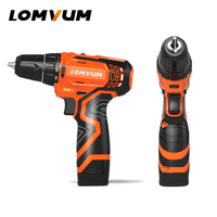 LOMVUM New 12/16/25V Electric Drill Hammer Cordless Drills Lithium Ion Battery Screw rotary tool Mini Magnetic DRILLING DRIVING