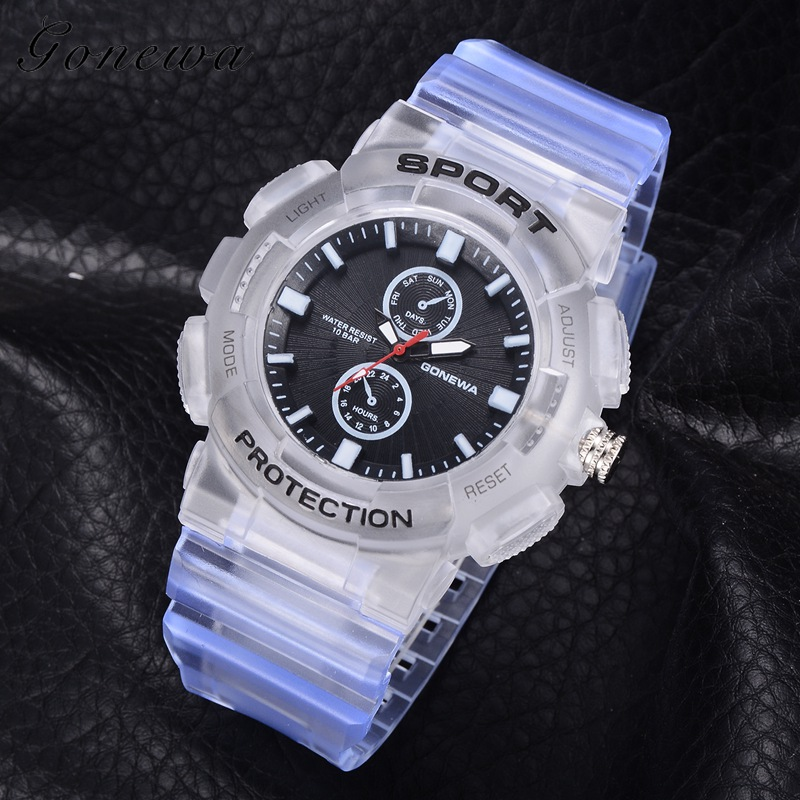 Top Luxury Brand Gonewa Fashion Silicone Strap Watches Quartz 10Bar Waterproof Sports Army Military WristWatch Men 2018 GON042