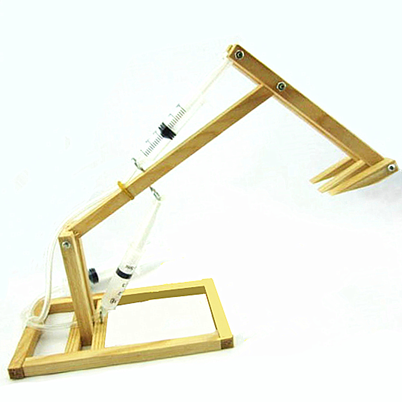 Wooden Science Education Piston Excavator Toy Model DIY Assembly Building Model Toy For Children Kids