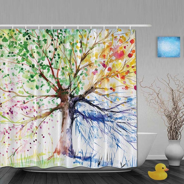Watercolor Bathroom Shower Curtains Four Season Tree Curtain Waterproof Polyester Fabric Custom Hooks