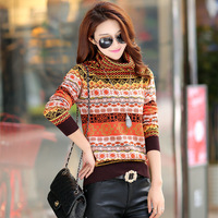 In The Spring Of 2018 New Women S Head Set Loose Turtleneck Retro Color Knitted Sweater