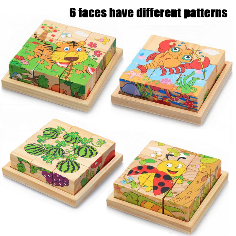 MYHOESWD 6-sided Animal pattern 3d Puzzle Jigsaw Wooden Toys Kids Training Toys For Intelligence Kids Baby Early Educational Toy