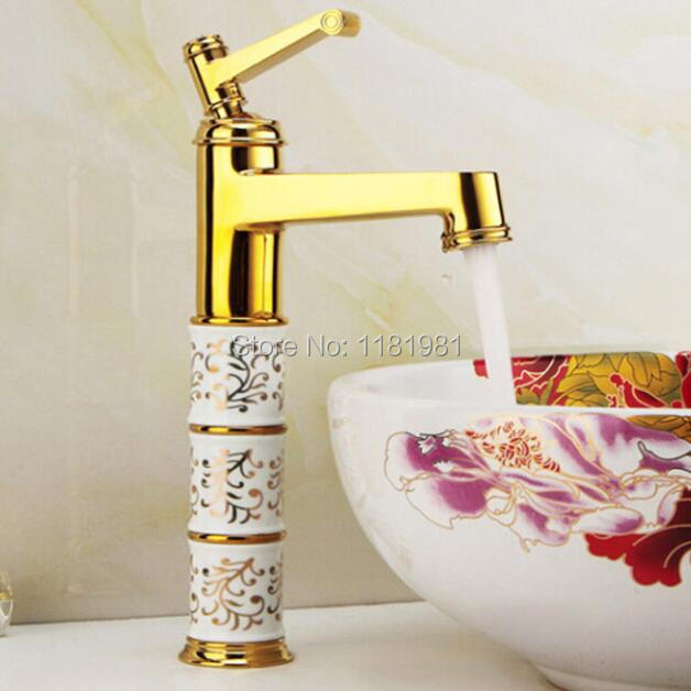 Luxury Gold copper blue and white porcelain body brass hot and cold mixture faucet BT-4 netac u188 blue and white porcelain pattern usb 2 0 flash drive white blue 4gb