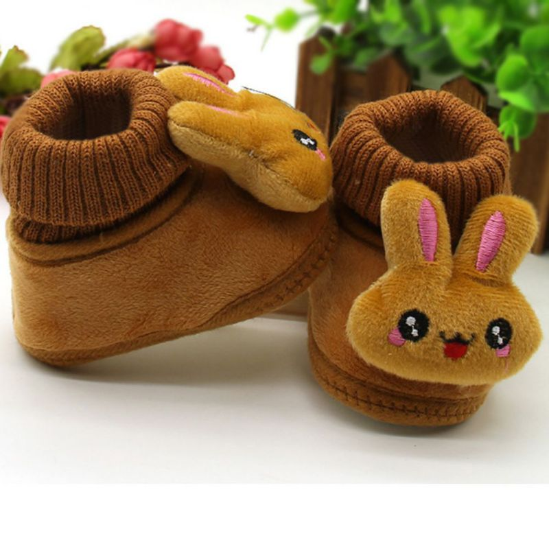 Comfy kids winter Fashion Child Leather Rabbit Cartoon Shoes For Girls Boys Warm Shoes Casual Plush Child Baby Toddler Shoe
