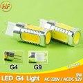 Aluminio G9 LLEVÓ La Luz de la MAZORCA LED de La Lámpara 9 W ACDC 12 V 110 V 220 V Bulbo Del Maíz de 12 W Droplight de Cristal Chandelier Spotlight Sustituir halógeno
