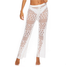 New Sexy Bathing Suit Cover Up Beach Pants Women Hollow Hook flower Night Club Knitting Sheer Cover Up Beach Wear Women Trouse