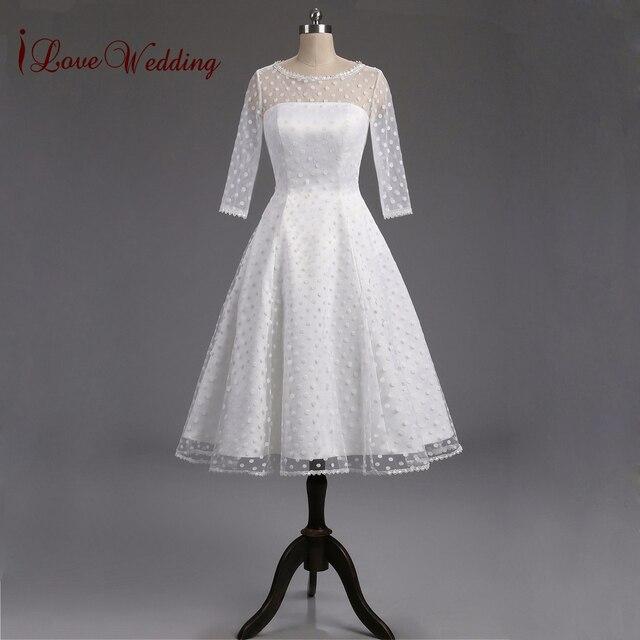 1950s Retro Polka Dotted Short Wedding Dress 2017 Little White ...