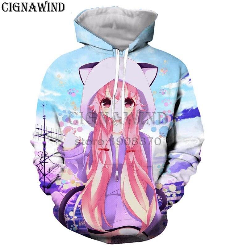 New arrive Anime Mirai Nikki hoodies men women sweatshirts 3D printed most popular hip hop style streetwear unisex tracksuit