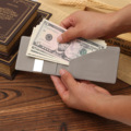 High Quality Men Money Clips Vintage Pu Leather Front Pocket Clamp For Money Holder Slim Money Clip Wallet With Card Id Case