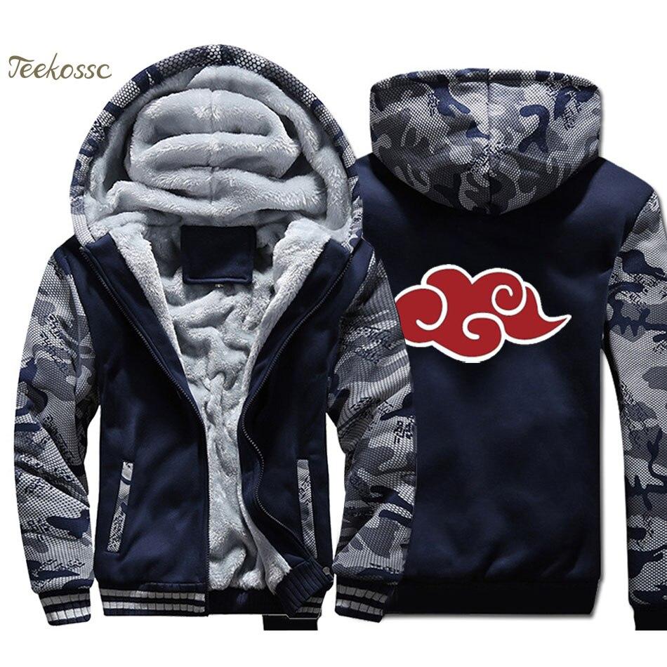 Anime Naruto Akatsuki Hoodie Men Red Cloud Hooded Sweatshirt Coat 2018 New Winter Warm Fleece Thick High Quality Harajuku Jacket