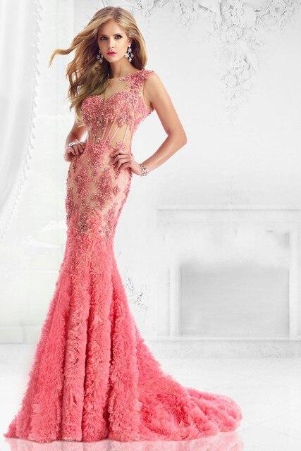 Z58 vestidos de festa vestido longo Coral Pink Long Elegant Prom ...