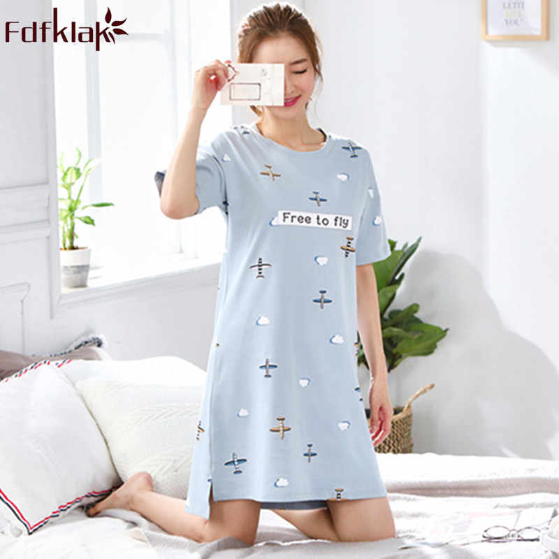 Fdfklak Woman nightwear large size cotton nightgown women sleepwear night  dress short sleeve summer nightshirt nightie 5c11e404e