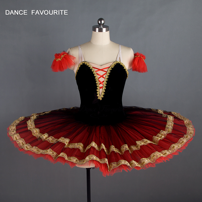 Dance Favourite GIrl & Women Professional Ballet Costume Tutu Ballerina Ballet Tutu Black/Red Pancake dance tutu
