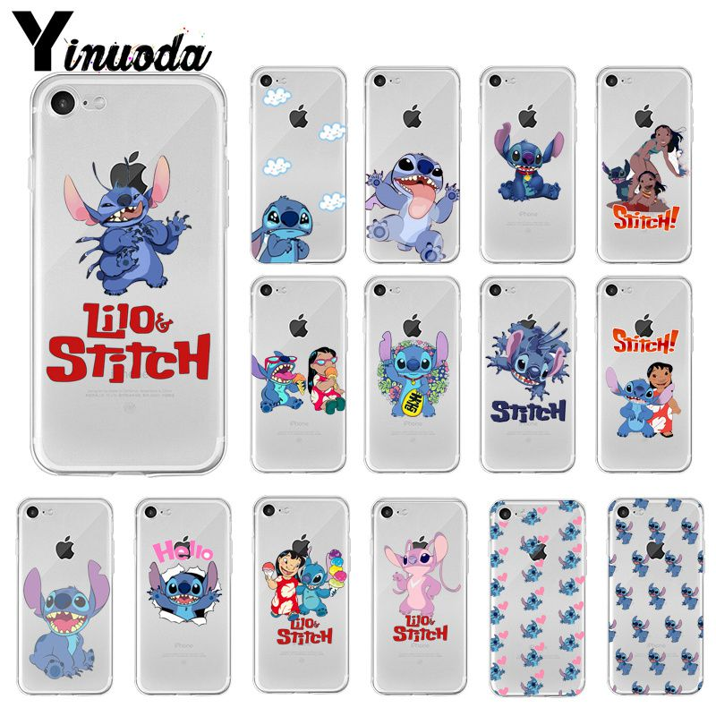 Yinuoda cute cartoon Lilo Stitch Colorful Cute Phone Case for Apple iPhone 8 7 6 6S Plus X XS MAX 5 5S SE XR Cellphones