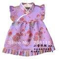 Brand New Vestidos de Seda Macia Do Bebê Varejo/vestido infantil para o bebê 4-36 Meses/o camaleão
