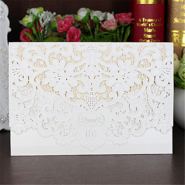5pcs Cool Clic Style Wedding Invitation Cards With Laser Cut Flower High Quality Greeting White