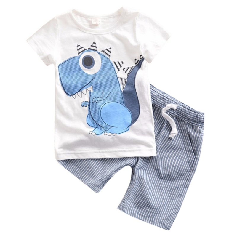 2 Pcs Clothes Set Baby Boy Girl Dinosaur Character Short Sleeve Top + Striped Shorts Outfits Children Summer Clothing newborn baby boy girl clothes set short sleeve top bodysuits leg warmer bow headband 3pcs clothing outfits set