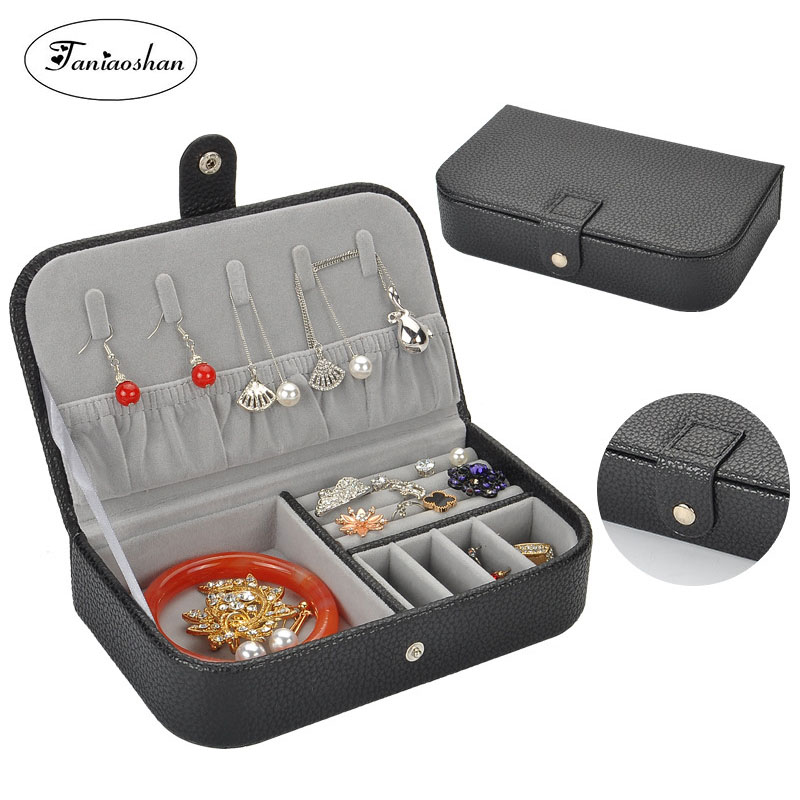 Newest Litchi Pattern Jewelry Box Leather Earrings Storage Cases For Girl Portable Monolayer  Jewelry Organize  Travel Casket