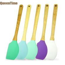 colorful kitchen utensils. Beautiful Kitchen QueenTime Silicone Spatula With Wooden Handle Inside Colorful Kitchen Utensils