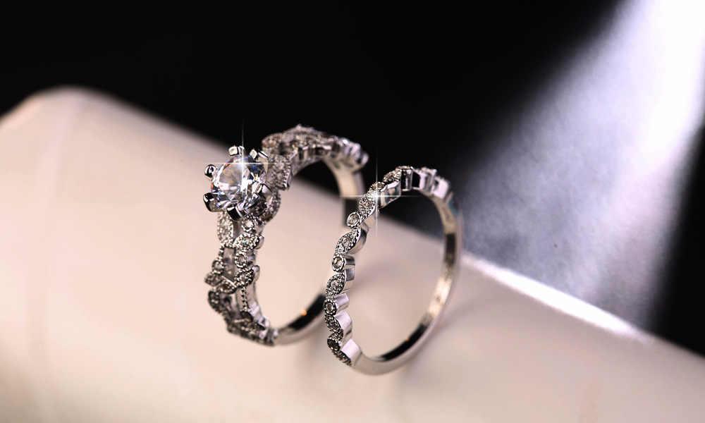 90% オフ! Bamos 女性ホワイトラウンドリングセット高級 925 シルバー指輪ヴィンテージ結婚指輪の約束の婚約指輪