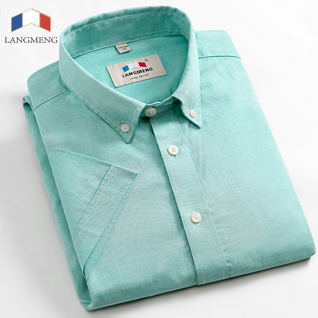 LANGMENG Brand 100% cotton candy color New Fashion mens oxford dress shirt male short sleeve casual shirt men size XS-3XL
