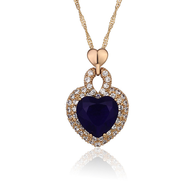 18k Gold Plated Heart Pendant Necklace For Women Collares CZ Gemstone The Heart Of Ocean Fashion Jewelry Free shipping 3P18K-13