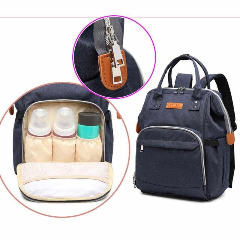 Lequeen กระเป๋าเป้สะพายหลังผ้าอ้อมสำหรับแม่ทารกคลอดบุตร multi-function กระเป๋าเปียกน้ำขนาดใหญ่ความจุกระเป๋าเดินทางเด็ก