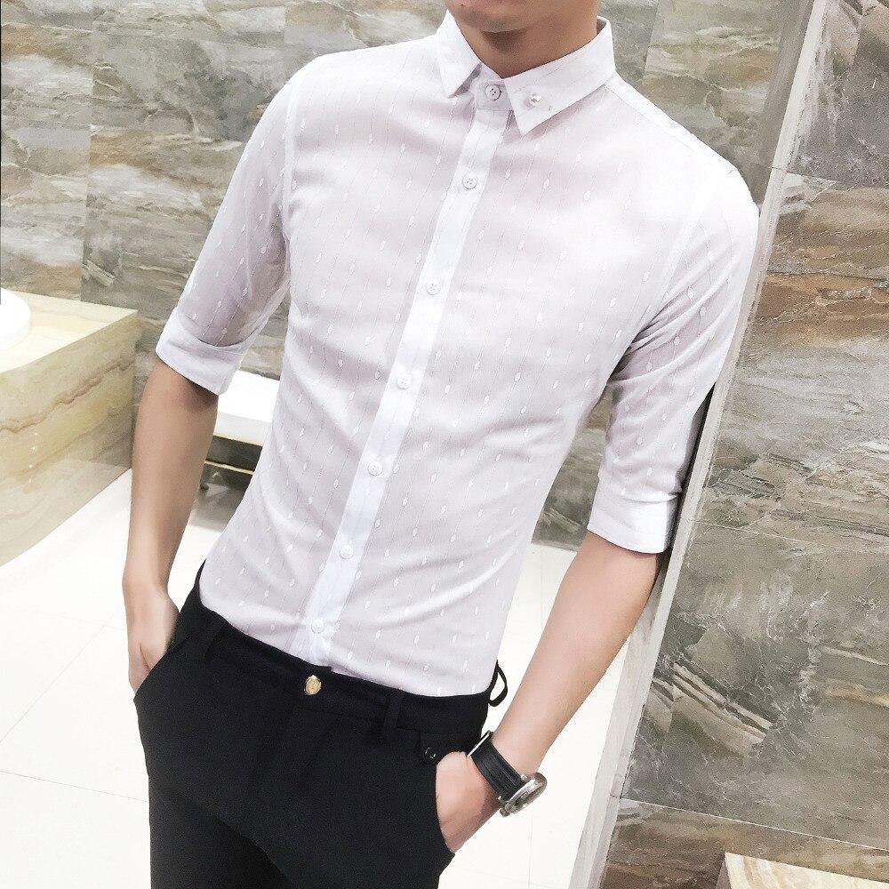 2018 Hot Sale Striped Shirt Summer Slim Fit Half Sleeve Social Shirts Dress Business Casual Plus Size Work Shirt Men Promotions