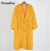 Натуральный мех трикотажные монгольских овец пальто с мехом Куртка пальто женские зимние теплые пальто с мехом с карманом 95 см дополнитель