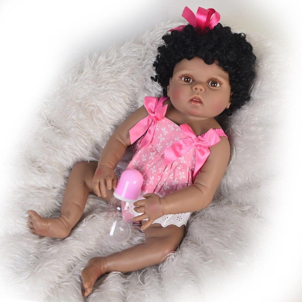 New full body silicoen bebe reborn bonecas menina cachos Macios boneca de vinil real toque suave bebe reborn vivo real presente para a criança