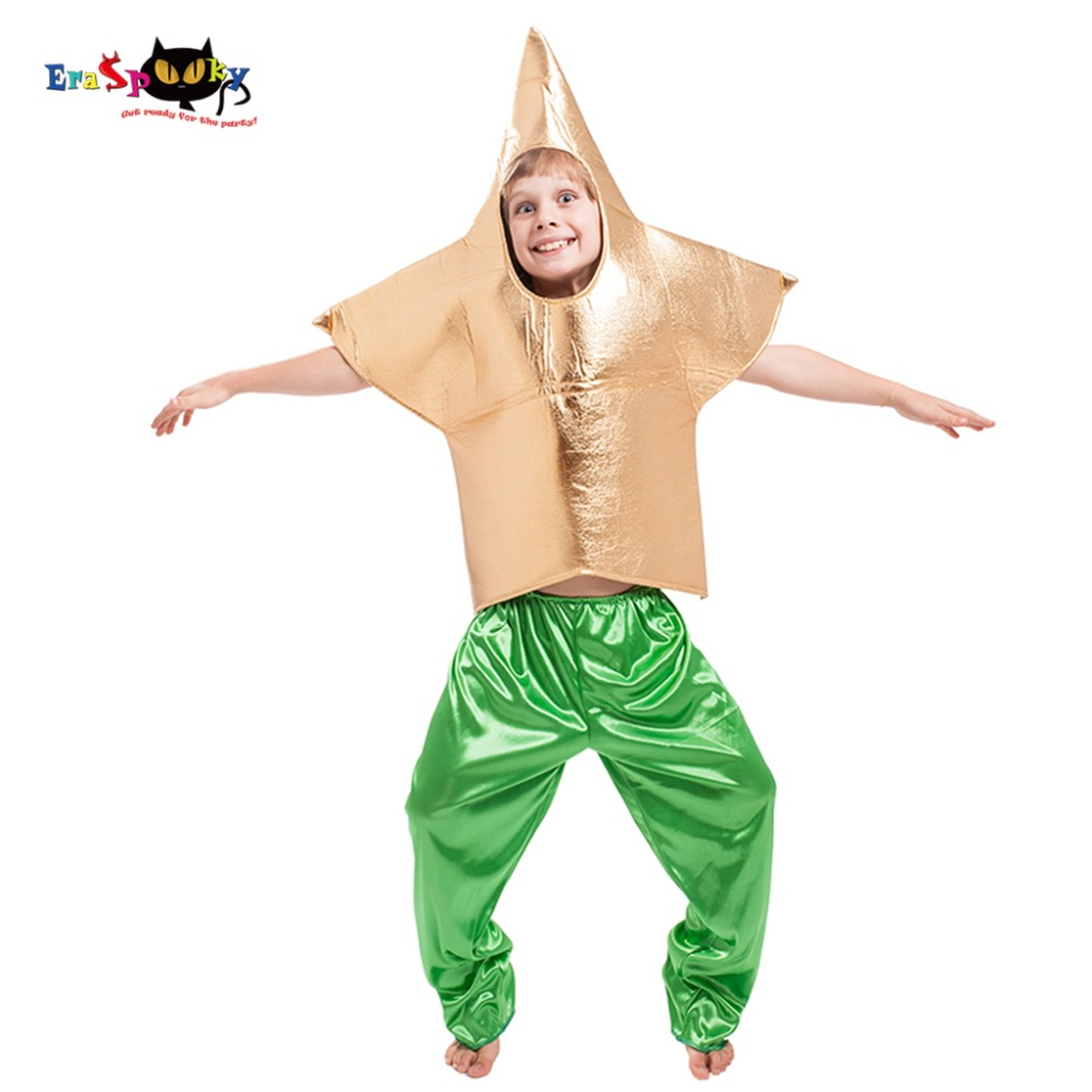 Eraspooky Funny Golden Star Cosplay Boys Halloween costume kids Sea Star Tunic Carnival Party Clothes Children Fancy Dress