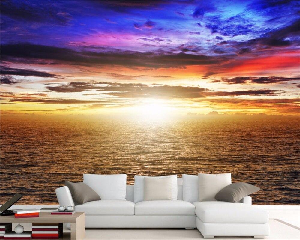 On Line Get Barato Oceano Paisagem Papel De Parede Murais  ~ Quarto Grande De Luxo Com Pintar Parede Do Quarto