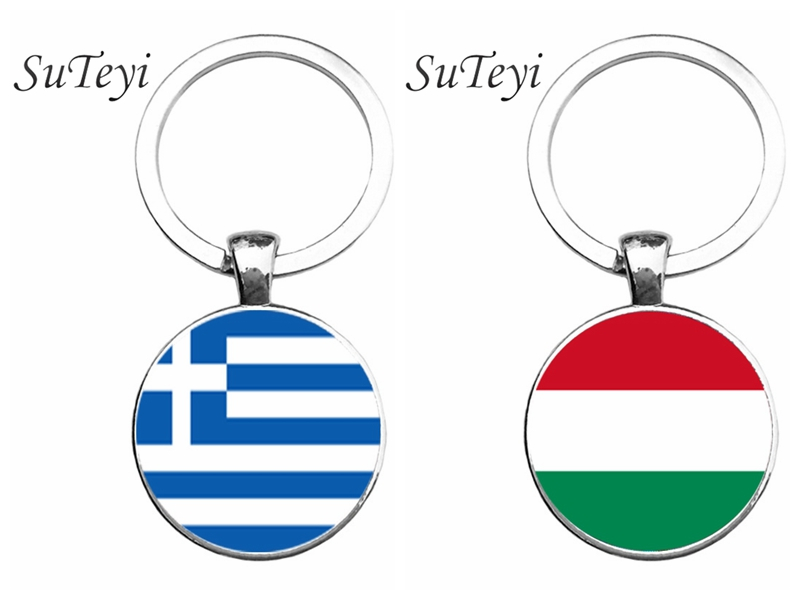 SUTEYI 2017 Fashion Alloy Plated Keychain Jewelry Greece/Hungary Flag Key Ring 25mm Round Glass Key Chain For Men Car