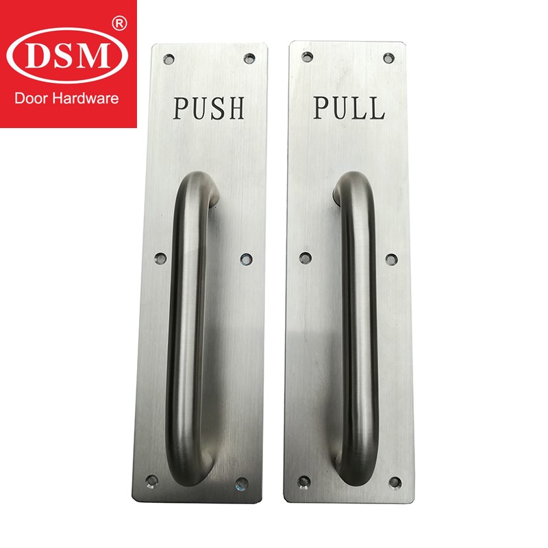 Brushed SUS304 Grade Stainless Steel Push/Pull Door Handle on Plate For Wooden/Metal Fireproof Doors PA-3781CDBrushed SUS304 Grade Stainless Steel Push/Pull Door Handle on Plate For Wooden/Metal Fireproof Doors PA-3781CD