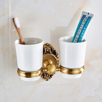 Antique Brass Toothbrush Double Cup Tumbler Holders Clear Glass Bathroom Hardware 3A11221