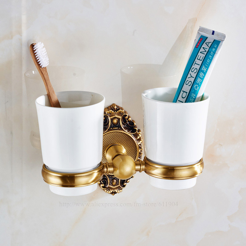 Free shipping Brass Polished Toothbrush Double Cup Tumbler Holders Ceramic cup Bathroom Accessaries Wall Mounted  3AG2321 free shipping crystal and jade wall mounted toothbrush holder double ceramic cup brass holder