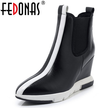 FEDONAS Fashion Women Genuine Leather Ankle Boots Mixed Colors Pointed Toe Platforms Shoes Woman Warm Winter Wedges Short Boots