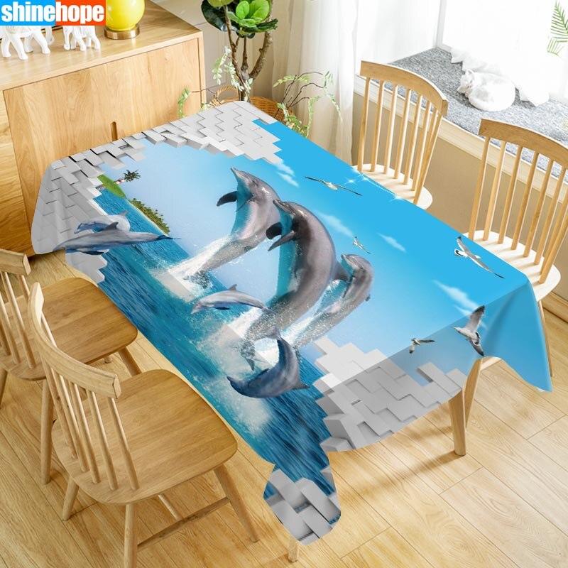 Monde sous-marin 3D nappe dauphins requin animaux de noël plage lavable tissu épaissir nappe de mariage rectangulaire