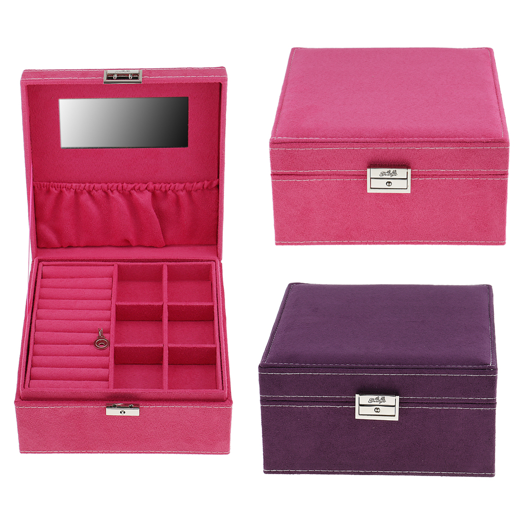 Square 2 Layers Glass Top Velvet Jewelry Box Case Holder Storage Organizer with Lid Gifts
