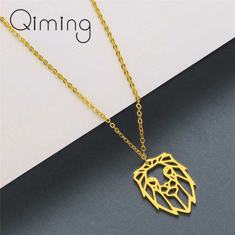 Origami Animal Lion Necklace Stainless Steel Jewelry Women Men Vintage Zodiac Pendant Gold Punk Necklaces Male