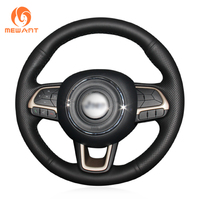 MEWANT Black Artificial Leather Car Steering Wheel Cover for Jeep Compass 2017 Renegade 2016 2017