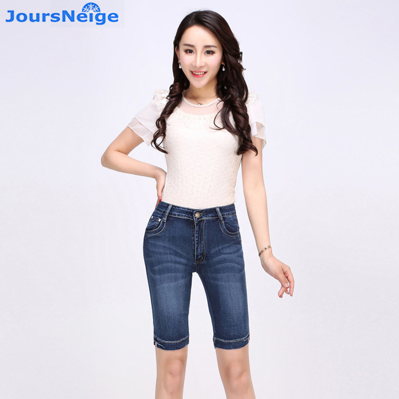 Knee Length Denim Shorts Women 2017 Summer New Stretch Skinny High Waist Jeans Woman Short Jeans Femme Plus Size