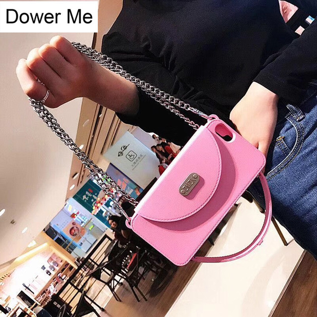 Dower Me Fashion Silicone Wallet Card Bag Women Handbag Case Cover With  Long Matel Chain For Iphone XS Max XR X 8 7 6 6S Plus 6caa21465042