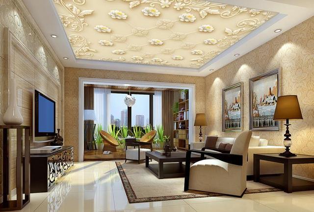 Behang Voor Badkamer : 3d plafond behang europese luxe patroon relief foto behang 3d custom