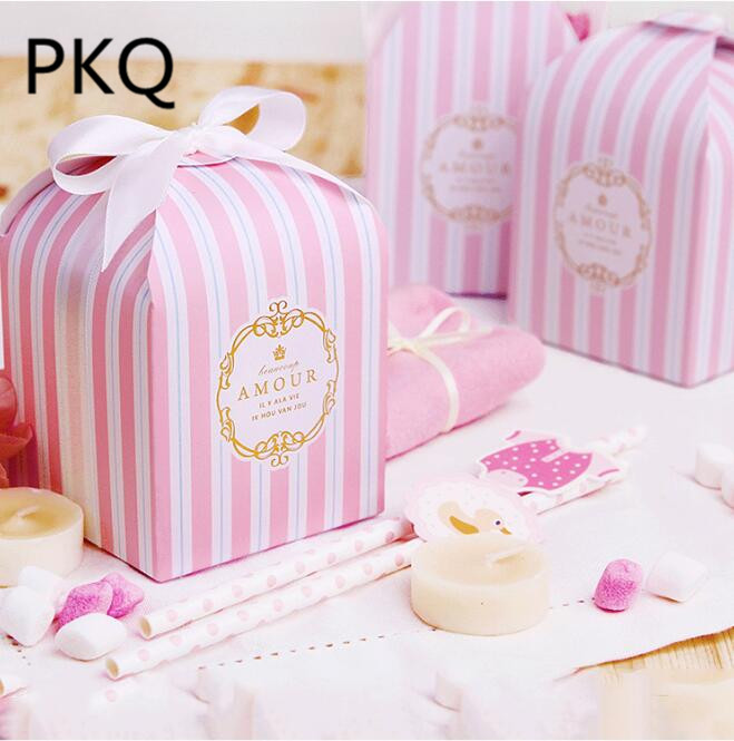 Small Gift For Wedding: 100pcs 8x8x8cm Blue Candy Box Pink Chocolate Packaging Box