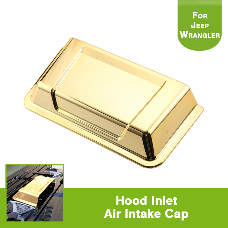Gold Car Air Flow Intake Cowl Hood Vent Scoop Cover For Jeep Wrangler TJ JK CJ 2007-2017 car stickers car decorative air flow intake scoop turbo bonnet vent cover 4 colors hood decorate for renault logan