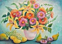 디지털 유화 세공 선물 세트 꽃 40x50 센치메터